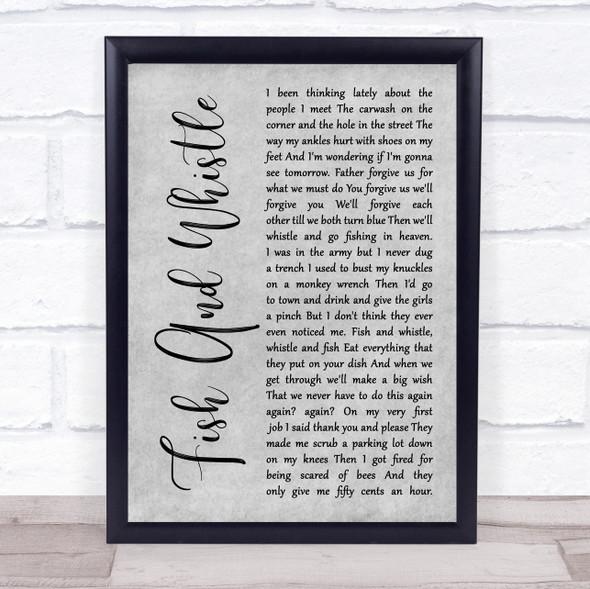 John Prine Fish And Whistle Grey Rustic Script Song Lyric Print
