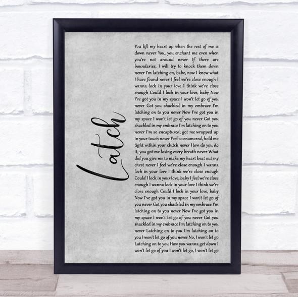 Disclosure Latch Grey Rustic Script Song Lyric Print