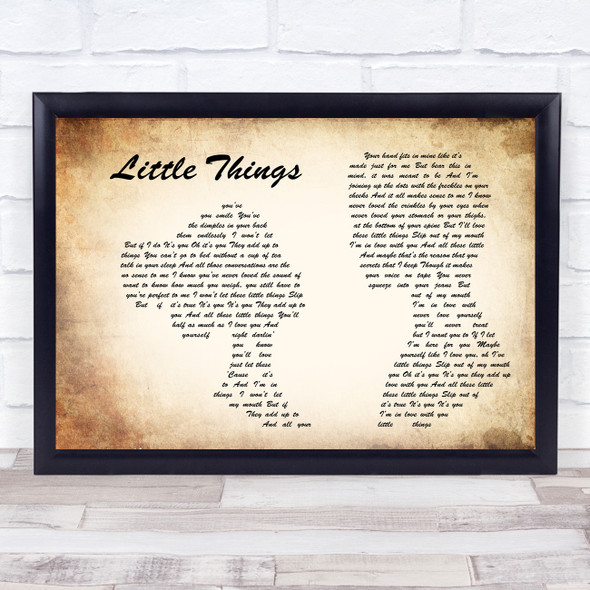 One Direction Little Things Man Lady Couple Song Lyric Print
