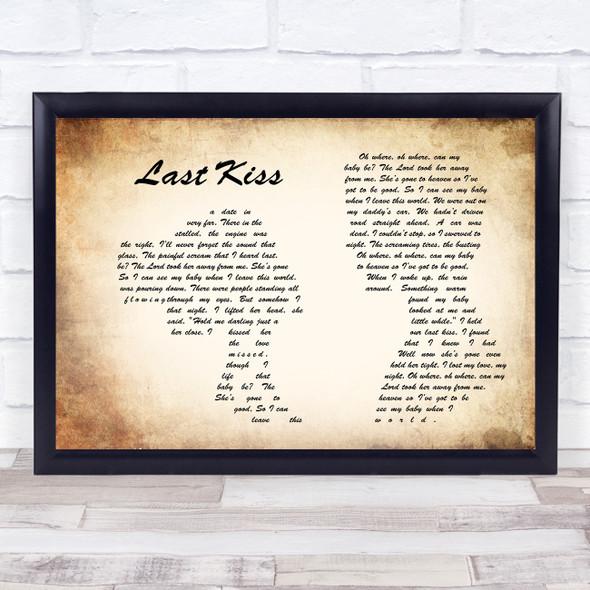 Pearl Jam Last Kiss Man Lady Couple Song Lyric Print