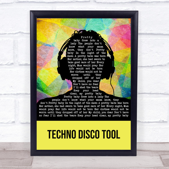 Mella Dee Techno Disco Tool Multicolour Man Headphones Song Lyric Print