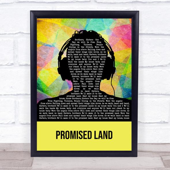 Joe Smooth Promised Land Multicolour Man Headphones Song Lyric Print