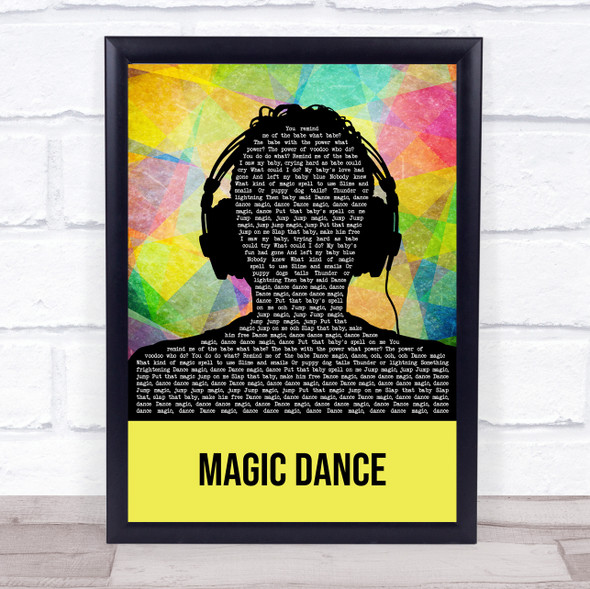 David Bowie Magic Dance Multicolour Man Headphones Song Lyric Print