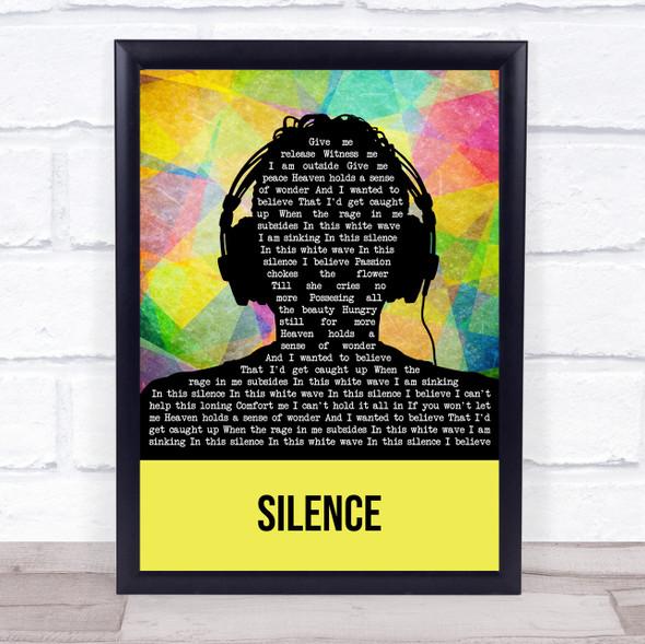 Delerium Silence Multicolour Man Headphones Song Lyric Print