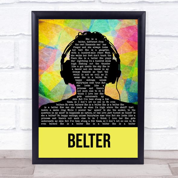 Gerry Cinnamon Belter Multicolour Man Headphones Song Lyric Print