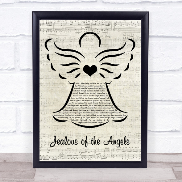 Jenn bostic Jealous of the Angels Music Script Angel Song Lyric Print