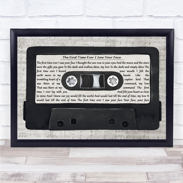 George Michael The First Time Ever I Saw Your Face Music Script Cassette Tape Song Lyric Print