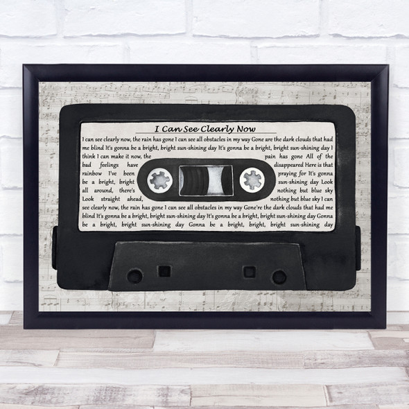Johnny Nash I Can See Clearly Now Music Script Cassette Tape Song Lyric Print
