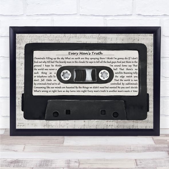 Gerry Cinnamon Every Man's Truth Music Script Cassette Tape Song Lyric Print