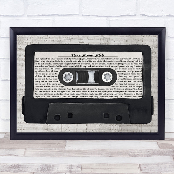 Rush Time Stand Still Music Script Cassette Tape Song Lyric Print