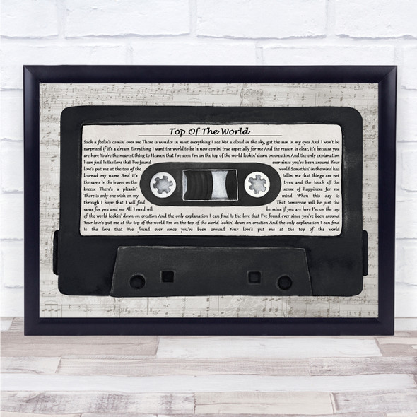 The Carpenters Top Of The World Music Script Cassette Tape Song Lyric Print