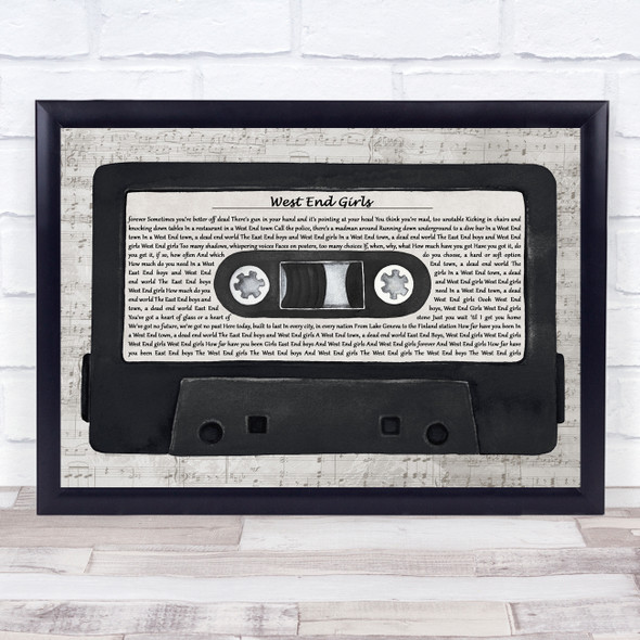 Pet Shop Boys West End Girls Music Script Cassette Tape Song Lyric Print