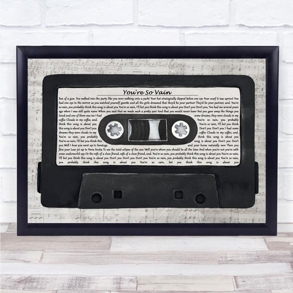 Carly Simon You're So Vain Music Script Cassette Tape Song Lyric Print