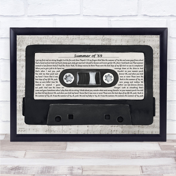 Bryan Adams Summer of '69 Music Script Cassette Tape Song Lyric Print