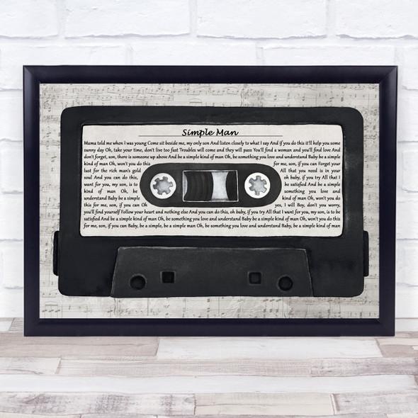 Lynyrd Skynyrd Simple Man Music Script Cassette Tape Song Lyric Print