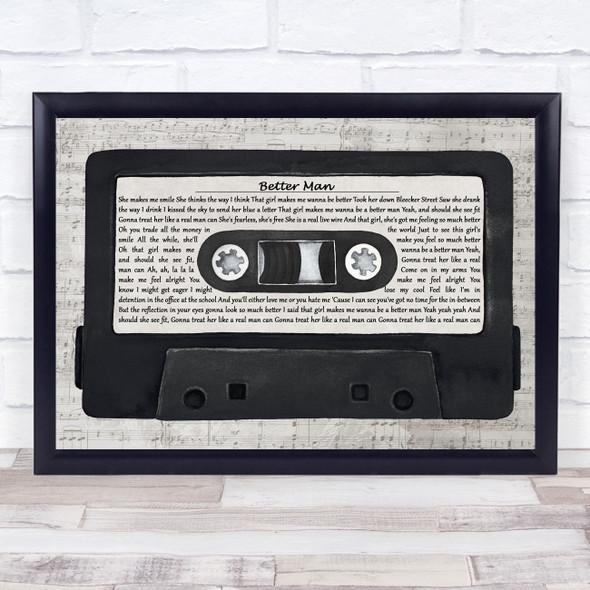 Paolo Nutini Better Man Music Script Cassette Tape Song Lyric Print