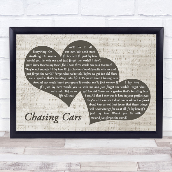 Snow Patrol Chasing Cars Landscape Music Script Two Hearts Song Lyric Print