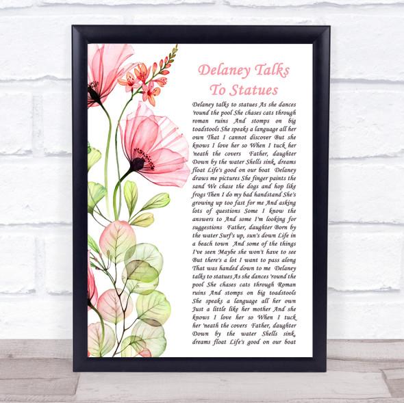Jimmy Buffett Delaney Talks To Statues Floral Poppy Side Script Song Lyric Print