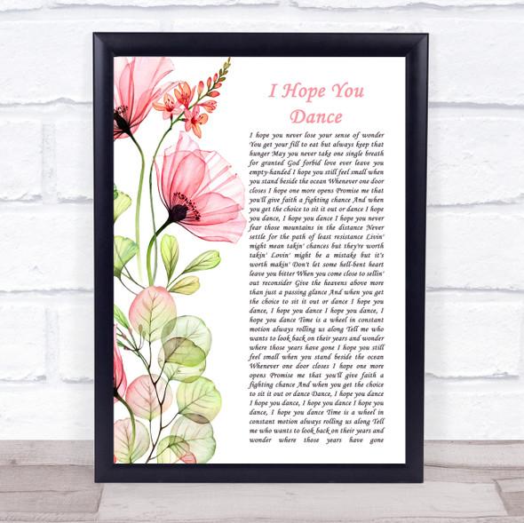 Lee Ann Womack I Hope You Dance Floral Poppy Side Script Song Lyric Print