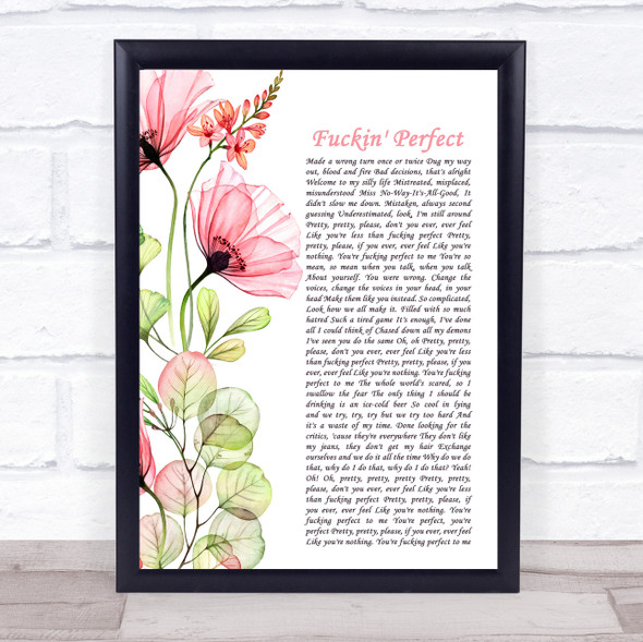 Pink Fuckin' Perfect Floral Poppy Side Script Song Lyric Print