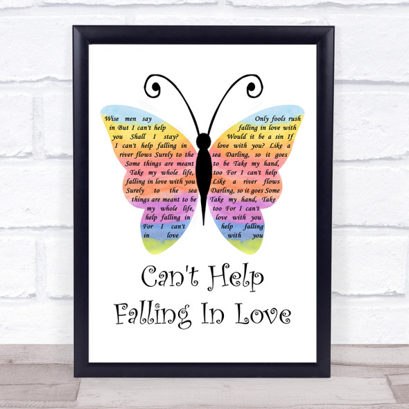 Elvis Presley Can't Help Falling In Love Rainbow Butterfly Song Lyric Print