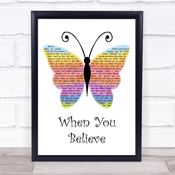 Whitney Houston & Mariah Carey When You Believe Rainbow Butterfly Song Lyric Print