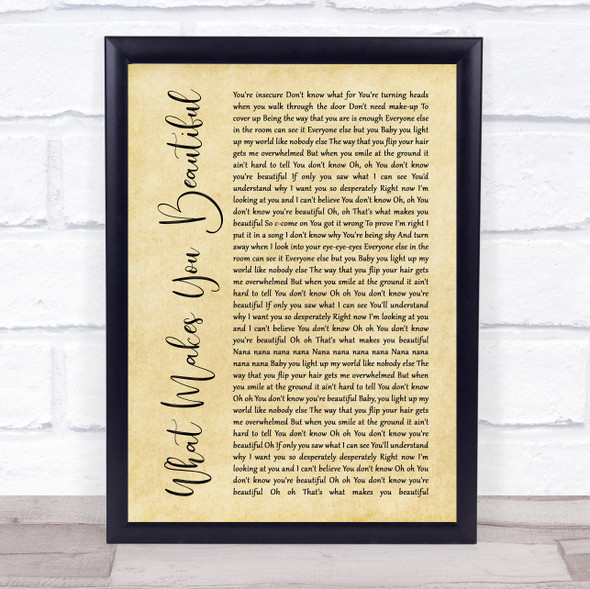 One Direction What Makes You Beautiful Rustic Script Song Lyric Print