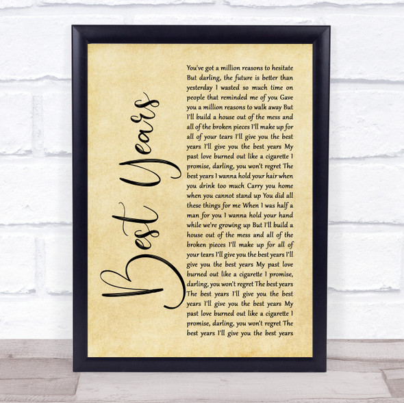5 Seconds Of Summer Best Years Rustic Script Song Lyric Print