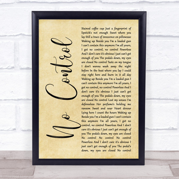 One Direction No Control Rustic Script Song Lyric Print