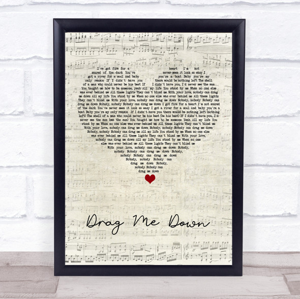 One Direction Drag Me Down Script Heart Song Print