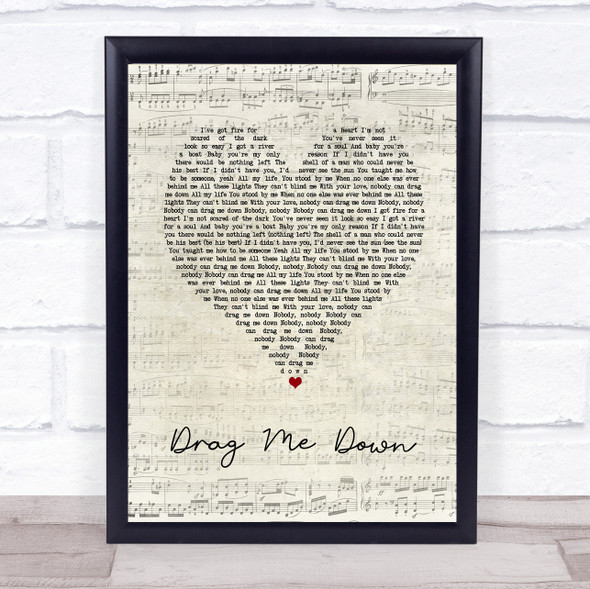 One Direction Drag Me Down Script Heart Song Lyric Print