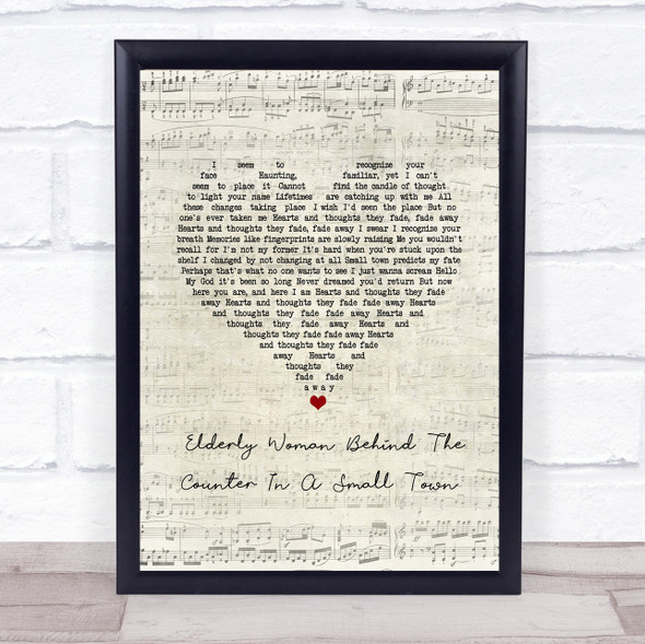 Pearl Jam Elderly Woman Behind The Counter In A Small Town Script Heart Song Lyric Print