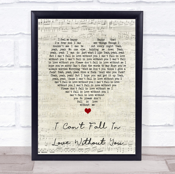 Zara Larsson I Can't Fall In Love Without You Script Heart Song Lyric Print