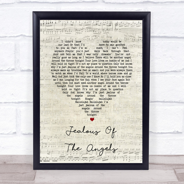 Donna Taggart Jealous of the Angels Script Heart Song Lyric Print