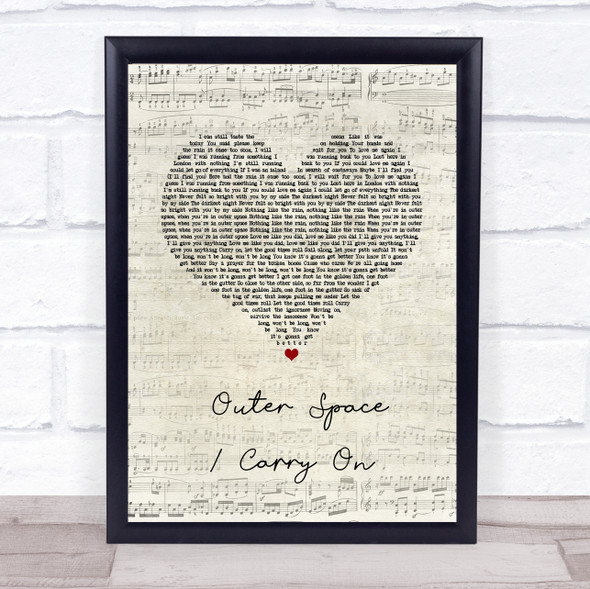 5 Seconds of Summer Outer Space Carry On Script Heart Song Lyric Print