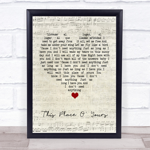 The Lathums This Place O' Yours Script Heart Song Lyric Print