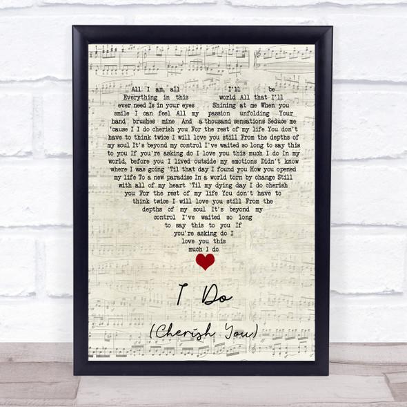 98 Degrees I Do (Cherish You) Script Heart Song Lyric Print