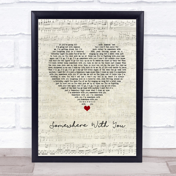 Kenny Chesney Somewhere With You Script Heart Song Lyric Print