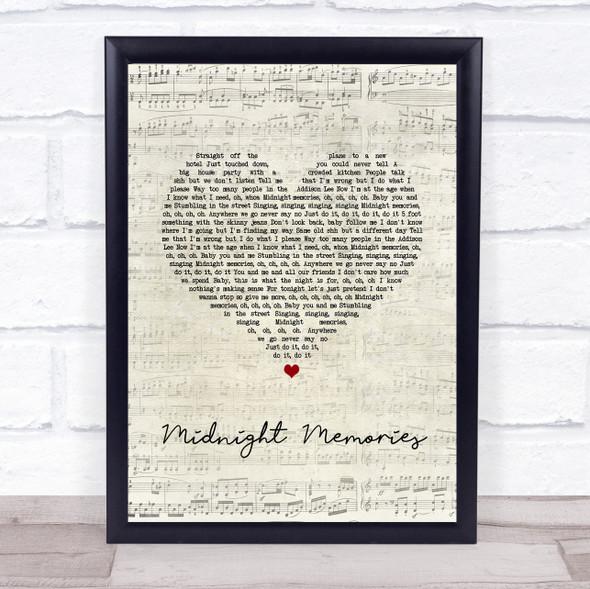 One Direction Midnight Memories Script Heart Song Lyric Print