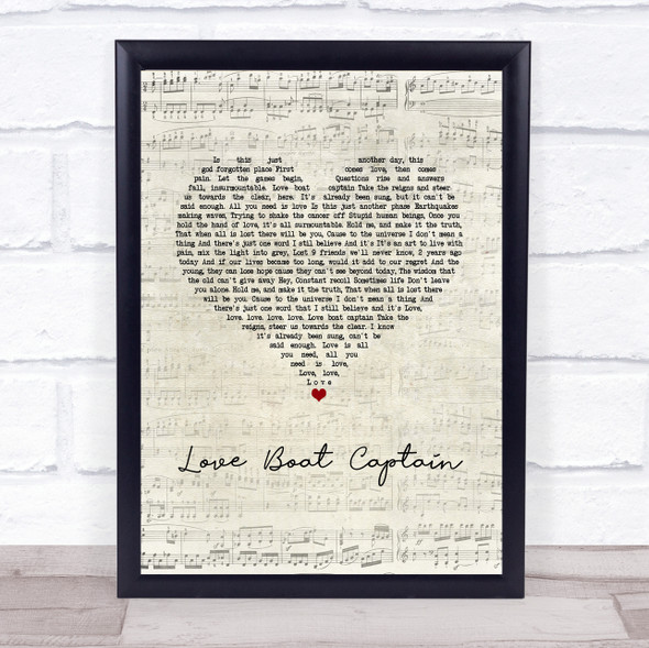 Pearl Jam Love Boat Captain Script Heart Song Lyric Print