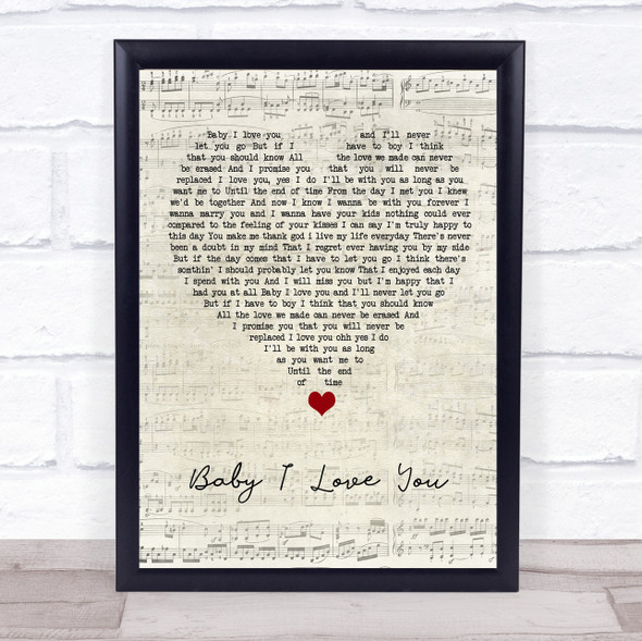 1st Lady Baby I Love You Script Heart Song Lyric Print