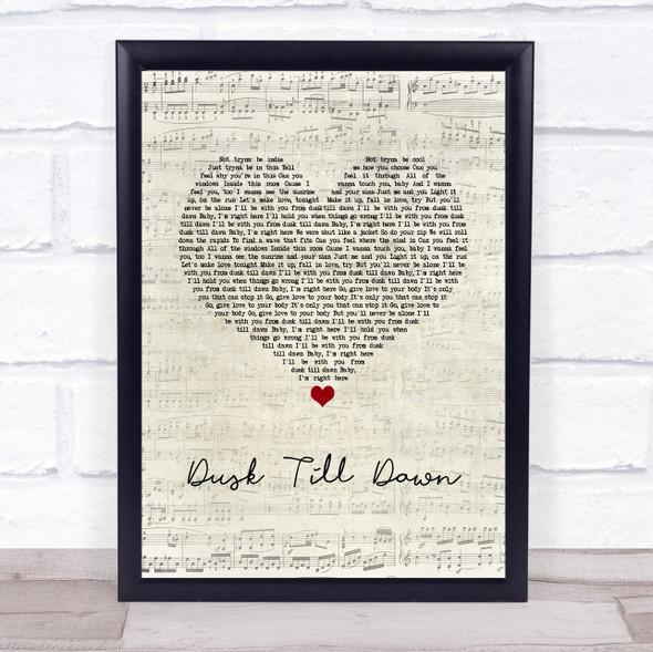 ZAYN ft. Sia Dusk Till Dawn Script Heart Song Lyric Print