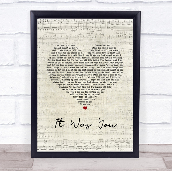 12 Stones It Was You Script Heart Song Lyric Print