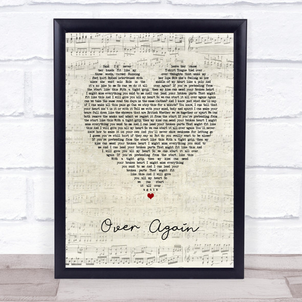 One Direction Over Again Script Heart Song Lyric Print