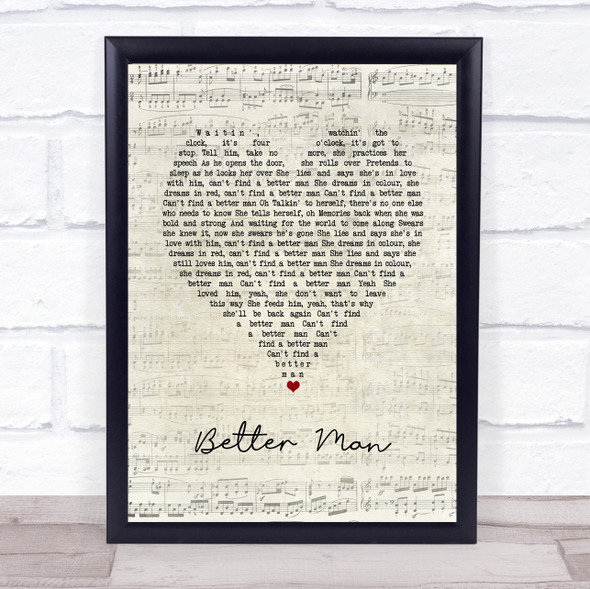 Pearl Jam Better Man Script Heart Song Lyric Print