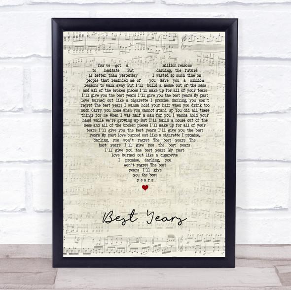 5 Seconds Of Summer Best Years Script Heart Song Lyric Print