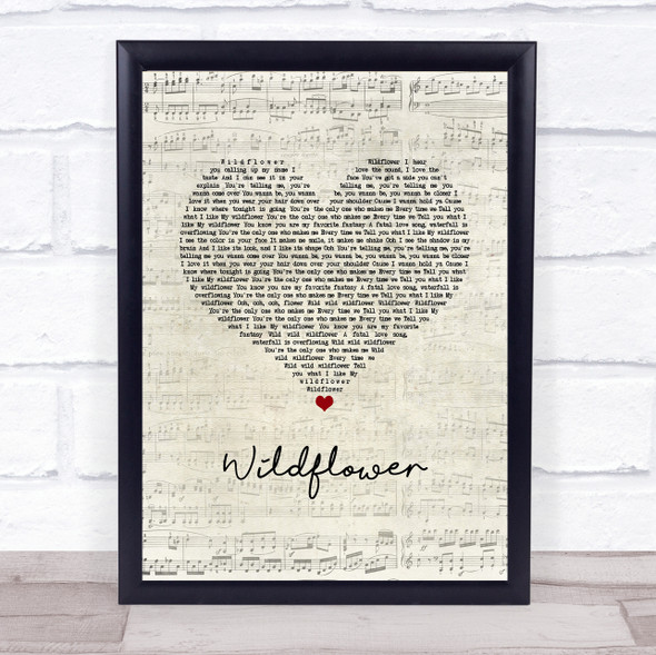 5 Seconds Of Summer Wildflower Script Heart Song Lyric Print