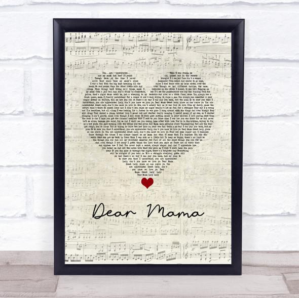 2Pac Dear Mama Script Heart Song Lyric Print