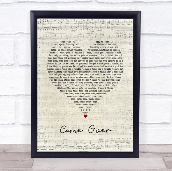 Kenny Chesney Come Over Script Heart Song Lyric Print