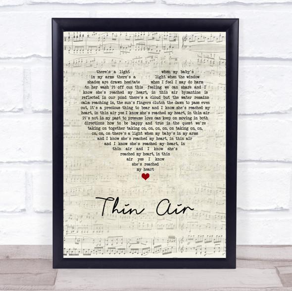 Pearl Jam Thin Air Script Heart Song Lyric Print